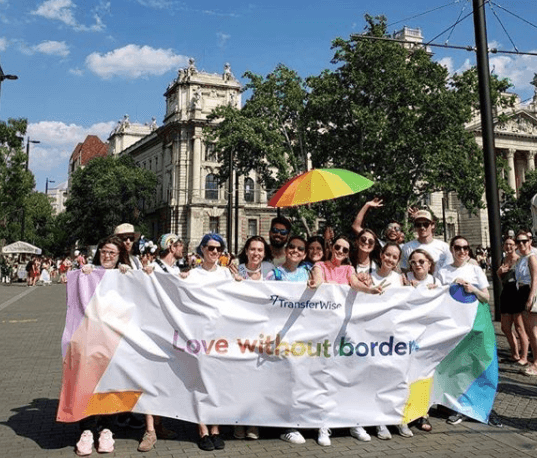 Marching at Budapest Pride in 2019.